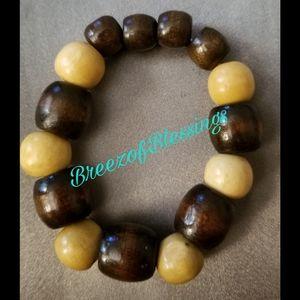 Other - Elastic Wooden Beaded Bracelet